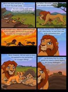 """And now we get to the actual story. The blue-eyed Simba clone with a beard is my version of Simba's great-great-great-great-grandfather. I call him Nkosi, which means """"king"""". I didn't bother naming. The Lion King 1994, Lion King 2, Disney Lion King, Lion King Story, Lion King Fan Art, King Art, Disney Family, Disney Fun, Lion King Dialogue"""