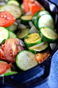 Skillet Zucchini Recipe ~ Zucchini recipes are great year-round, but especially throughout the summer. This easy skillet zucchini recipe brings a stir fry flair to a weeknight favorite side dish