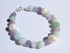 Pulsera de piedras naturales, perla, amazonita y amatista