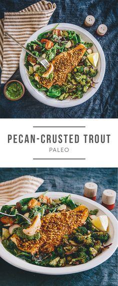 Fish Dishes, Seafood Dishes, Seafood Recipes, Vegetarian Recipes, Cooking Recipes, Healthy Recipes, Pecan Recipes, Cranberry Salad, Broccoli
