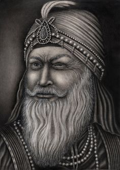 A drawing of 'Maharaja Ranjit Singh' who was known as the Lion of Punjab' and was the last ruling maharaja of the Sikh empire in India. Which is for my 'Sikh art' exhibition in November and he was also the father of 'Maharaja Duleep Singh'. He also suffered from polio when he was younger which left him blind in one eye.    Sikhpoint.com    #sikhpoint