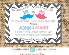 Gender Reveal Party Invitation- New Baby Chevron Patterned Invite- Printable File-Custom Design