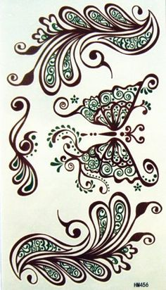 http://cheune.com/health Kinghorse Trendy Temporary Tattoo Water Sweat Proof for Women Female (Sexy and Elegant Indian Magrit Hand Painted Flower Brown Color Butterfly Totem and Feathers)
