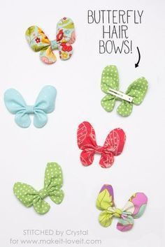 Butterfly hair bow tutorial – Hair – Hair is craft Fabric Hair Bows, Diy Hair Bows, Diy Bow, Fabric Flowers, Hair Flowers, Diy Hair Accessories Bows, Diy Hair Clips, Flower Hair Bows, Ribbon Hair Bows