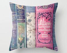 Land of Stories Pillow - Books, Decor, Bedding, Nursery, Girl's Room, Jane Austen, Alice in Wonderland, Fairy Tales, Mint, Aqua, Pink