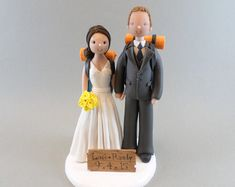 Personalized Outdoor/ Hiking Theme Wedding Cake Topper by mudcards