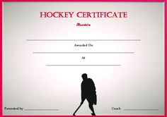 Blank Hockey Certificate Template Templates Field Ice