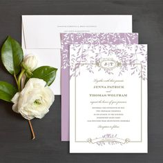 Timeless willow wedding invitation in lavender - love this for a woodland romance theme