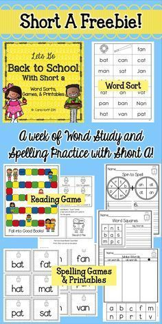This phonics freebie offers a week of word  sorting, games and spelling printables for short a. Great games!
