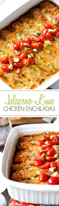 Jalapeno Lime Chicken Enchiladas stuffed with tender chicken, cheese and the option of fresh corn and zucchini, doused in the most irresistible creamy jalapeno lime sauce that you will go crazy for!