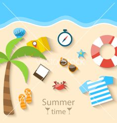 Summer time background with flat set colorful vector beach time by smeagorl on VectorStock®