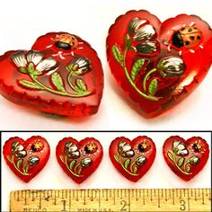 Realistic 22mm Vintage Czech Glass RUBY RED Heart w/Ladybug Buttons 4pc