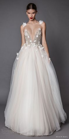 Muse by Berta fall 2017 bridal spagetti strap deep v neck heavily embellished bodice floral applique tulle skirt romantic a line wedding dress open low back sweep train (adel) mv #wedding #bridal