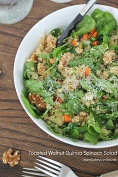 Toasted Walnut Quinoa Spinach Salad