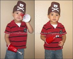 Pirate Crafts - Make a pirate's hat printable, homemade spyglass-telescope, Pirate's hook craft
