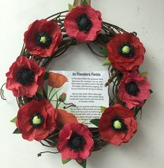 Poppy wreath Veterans Day wreath Sizzix Eileen hull die cut crepe paper