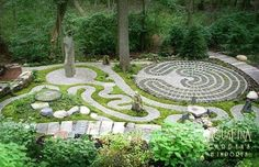 Labyrinth garden has a spiritual element, theme of nature and a unique philosophy in every part. The pattern of circles and spiral-shaped labyrinth tells about the circle of life. In addition to a unique labyrinth pattern, this garden has other functions Labyrinth Design, Labyrinth Garden, Labyrinth Maze, Prayer Garden, Meditation Garden, Walking Meditation, Meditation Corner, Daily Meditation, Meditation Music