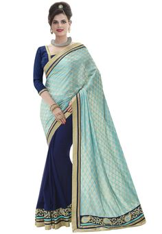 #Cyan And #Blue #Jacquard And #Georgette #Half and #Half #Saree With #Blouse ....  Cyan And Blue Jacquard And Georgette Half and Half Saree designed with Zari,Resham Embroidery with Patch Patta Work..  INR:1,476.00  With Exclusive Discounts  Grab:http://tinyurl.com/hq7ycbh