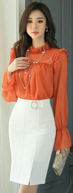 Kreis Schnalle Seitenschlitz H-Line Rock - blouse Office Fashion, Work Fashion, Asian Fashion, Fashion Details, Circle Fashion, Trend Fashion, Fashion Outfits, Womens Fashion, Latest Fashion