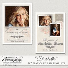 Senior Graduation Announcement Card, 5x7in Photoshop Template,Photoshop Template for Photographers,Photo Card Template, Sharlotta