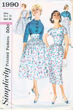 1950er Jahre Einfachheit 1990 Jahrgang Schnittmuster schießt am Tor schlank und vollständig umgangen Kleid, Jacke Größe 12 Büste 32 abgeschnitten