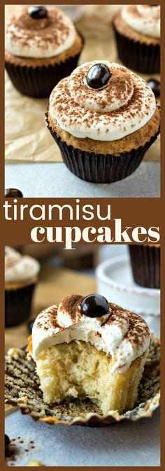 Tiramisu Cupcakes – A mini, easy-to-eat version of the classic Italian dessert. Made with vanilla cupcakes brushed with espresso and topped with a marscapone whipped cream. #recipe #coffee #espresso #cupcake #cake #dessert #tiramisu #dessertrecipe