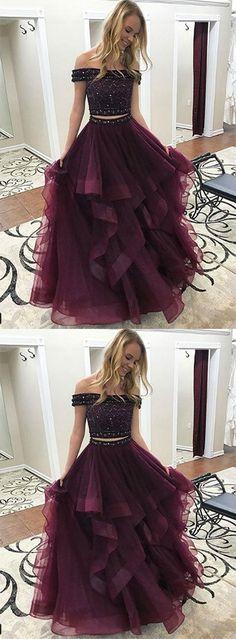 two-piece off-shoulder burgundy tulle long prom/evening dress #prom #promdress #promdresses #eveningdress #eveningdresses