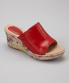 Loving this Red Deanna Leather Wedge Sandal on #zulily! #zulilyfinds