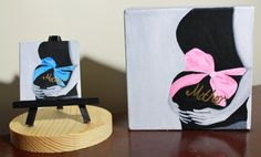 Hand painted minnie and small canvases... Makes a great Mom To Be gift! http://www.lofranoscreations.com/Small-Canvases.html