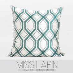 MISS LAPIN澜品家居/ 简约现代沙发设计师样板房/湖蓝色几何图案绣花方枕pillow /cushion /cushion cover-淘宝网