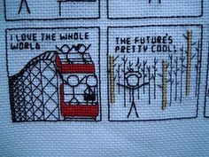 """For those of us who love xkcd - portion of cross stitch version of  """"xkcd Loves the Discovery Channel""""!!"""