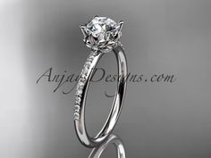 """Platinum diamond floral wedding ring, engagement ring with a """"Forever One"""" Moissanite center stone ADLR92"""