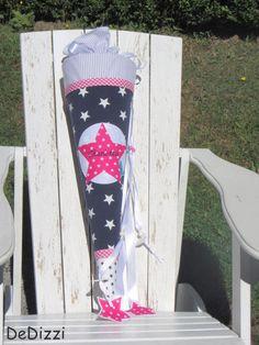 Schultüten - Schultüte ★ aus Stoff ★ blau weiß mit pink - ein Designerstück von DeDizzi bei DaWanda