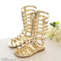 Cutout Gladiator Rivet Roman Sandals For Kids High Top Pentagram Shoes Fashion