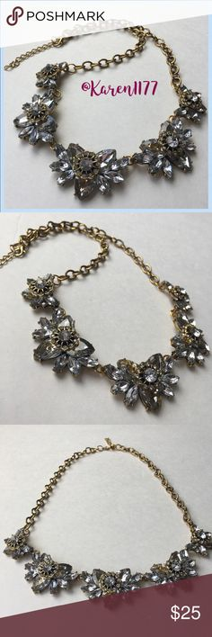 Stunning Rhinestone Floral Necklace Beautiful Antique Gold color necklace and White Crystal Rhinestones. Has extension. Amazing statement necklace for all seasons. ‼️Actual Item‼️Bundle & Save‼️ Karen1177 Jewelry Necklaces