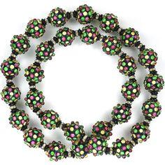 Rousselet Multicolour Cabochons on Black Poured Glass Spheres Claspless Necklace