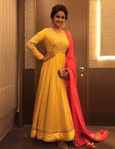 Keerthi Suresh in yellow Anarkali suit