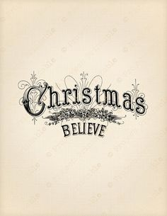 CHRISTMAS Instant Download Printable BELIEVE by ProjectPrintable