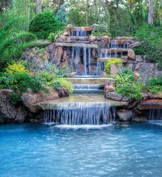 Luxury Pools with Waterfalls Luxury Pools with Waterfalls. Adding a waterfall to your modern and luxurious pool can be a great way to add both fun and style to it. A waterfall can make your pool lo… Luxury Swimming Pools, Luxury Pools, Dream Pools, Backyard Pool Landscaping, Backyard Pool Designs, Swimming Pool Designs, Backyard Ideas, Landscape Design Software, Lagoon Pool