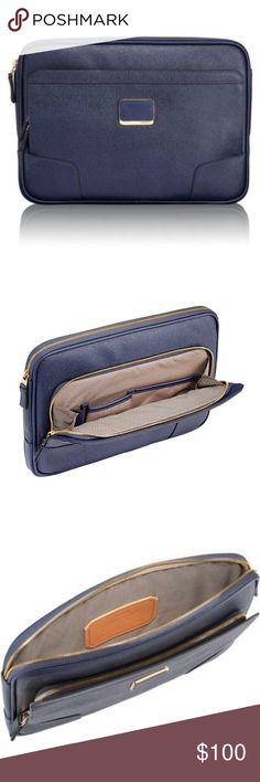 NWOT Tumi laptop sleeve navy NWOT TUMI laptop sleeve. Navy color. New. Primary Material : Coated Canvas Dimensions: H: 13 in W: 9.25 in D: 2.25 in Tumi Bags Laptop Bags
