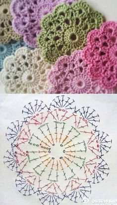 Flower Coasters-Free Chart (other patterns to check out here, too . - Free Knitting Pattern charts flower Flower Coasters-Free Chart (other patterns to check out here, too . Crochet Coaster Pattern, Crochet Flower Patterns, Crochet Motif, Crochet Designs, Crochet Doilies, Crochet Flowers, Crochet Stitches, Knit Crochet, Crochet Circle Pattern