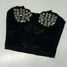 "studded black bustier, bralette xxs worn for a photoshoot once. best fits 32A cups or smaller ***waist is really tiny, please check measurments. length: 9.5"", waist 21"" Tops Crop Tops"