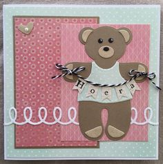 LindaCrea: Berenkaart #2 Baby Cards, Kids Cards, Tedy Bear, Marianne Design, Punch Art, Cute Cards, Cricut Design, I Card, Hand Embroidery