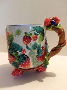 Whimsical 2004 J McCall Strawberries Strawberry Snail Mug Cup Blue Sky
