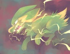 Electrike used Thunder Fang by yassui on DeviantArt Dog Pokemon, Real Pokemon, Pokemon Special, Pokemon Fan Art, Pokemon Games, Cute Pokemon, Pokemon Stuff, Thunder Pokemon, Video Game Art