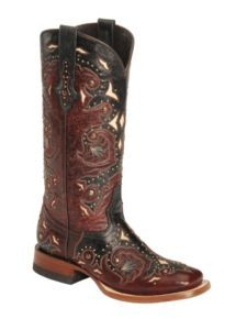 Lucchese Handcrafted 1883 Red Oklahoma Cowgirl Boots - Square Toe