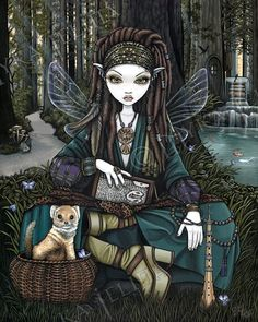 Ebay Auction.. Woodland Dreadlocks Fairy Magical Forest Zoti Limited Ed CANVAS Embellished 8x10 #MykaJelina