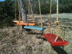 Make some spring memories! Your purchase will include two tree swings. Color selections can be made at checkout. Each tree swing is made Diy Swing, Wood Swing, Porch Swing, Wooden Tree Swing, Large Backyard Landscaping, Backyard Swings, Outdoor Swings, Garden Swings, Backyard Kids