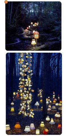 EVENING RECEPTION - Dressing - Midsummer Nights Dream inspired hidden woodland bar. Lantern lit trees with mix of lampshades and lanterns