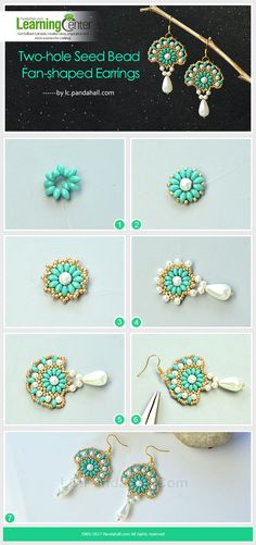 Best Seed Bead Jewelry 2017 Two-hole Seed Bead Fan-shaped Earrings The main materials of the earrings are se